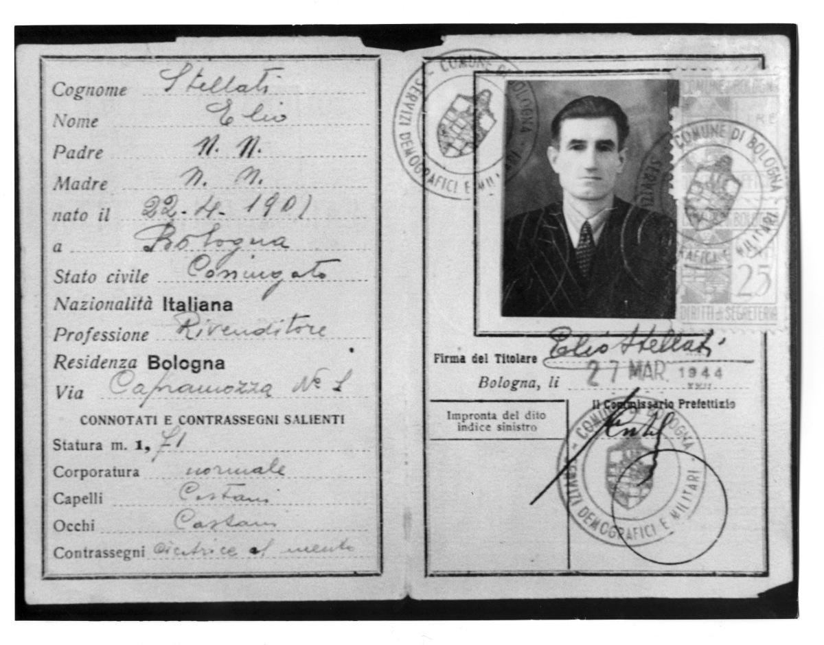 2. Fotocopia della carta di identità falsa (col nome di Elio Stellati) con cui Onorato Malaguti circolava nel 1944 per evitare l'arresto da parte dei nazifascisti.
