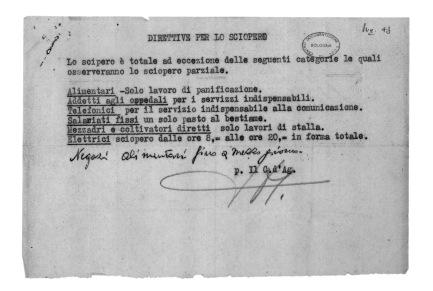 35. Attentato a Togliatti. La direttiva per lo svolgimento dello sciopero firmata a mano da O. Malaguti. Non compare la data che certamente è del 15 luglio 1948. Il 14, giorno dell'attentato, lo sciopero fu spontaneo anche a Bologna.