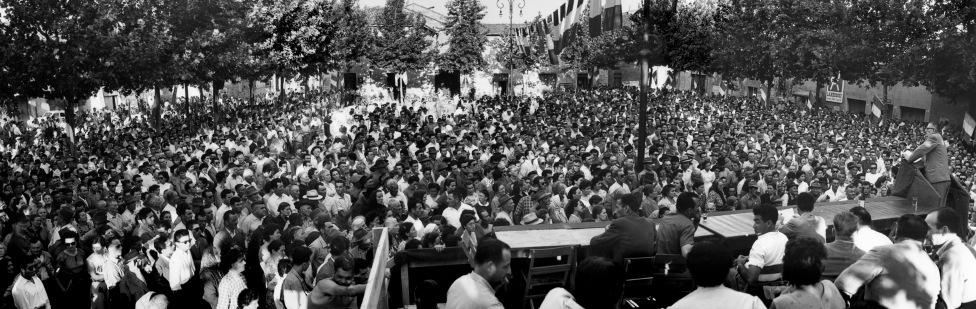 33. 16 luglio 1955. Onorato Malaguti conclude la manifestazione a Massa Lombarda per la costruzione del Canale Emiliano Romagnolo.